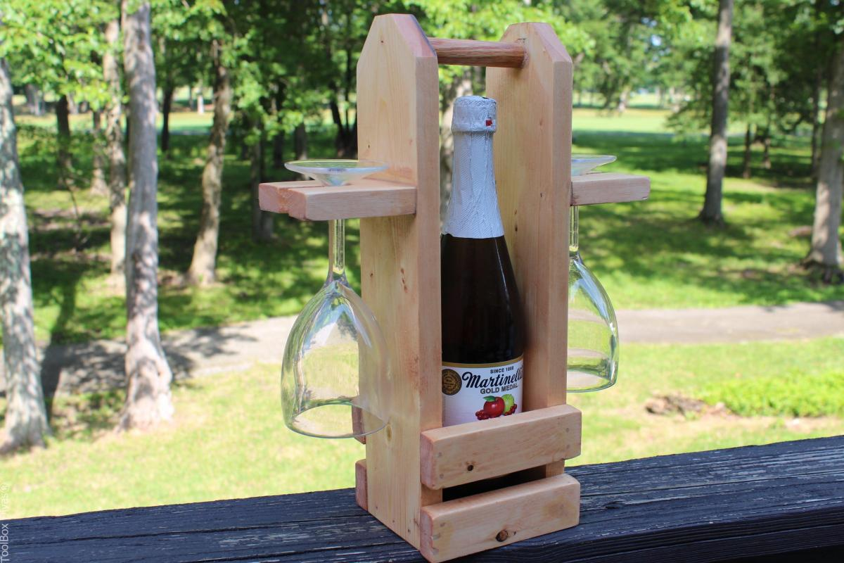 DIY Wine Caddy with Glass Holder